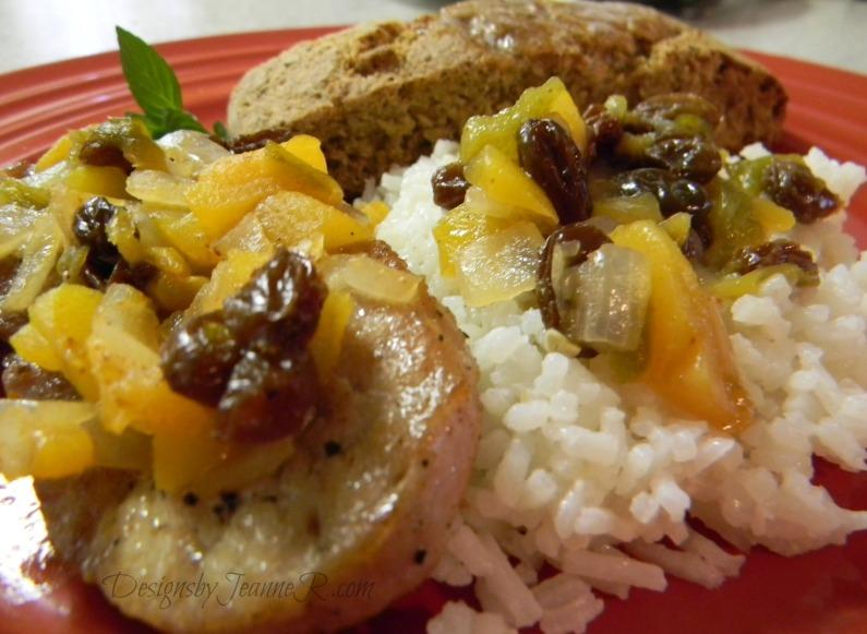 Pork Sirloin with Spicy Peach Chutney