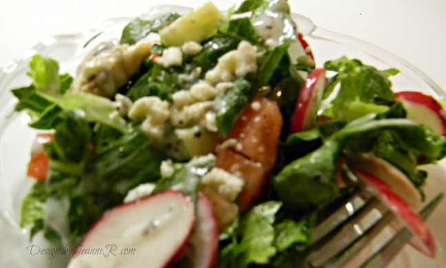 Garden Salad with Yogurt Feta Vinaigrette