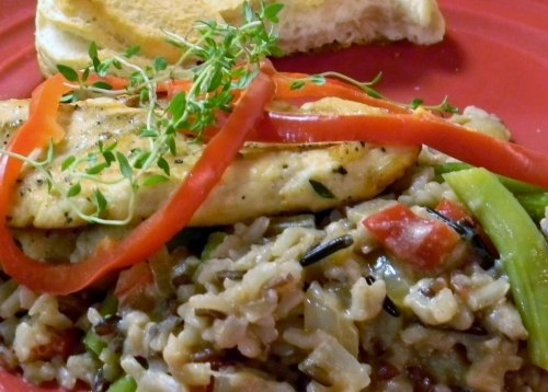 Wild Rice with Pan Fried Chicken