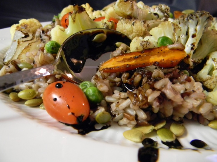 Roasted Vegetables with Wild Rice & Balsamic Reduction