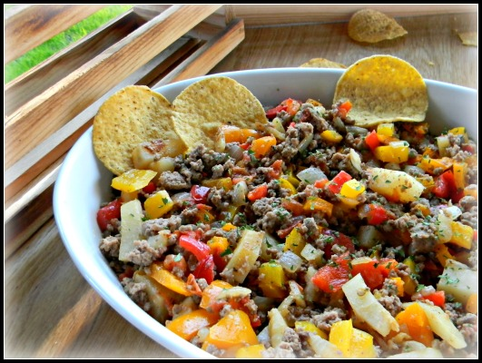 Colorful Veggie & Beef Dinner Nachos