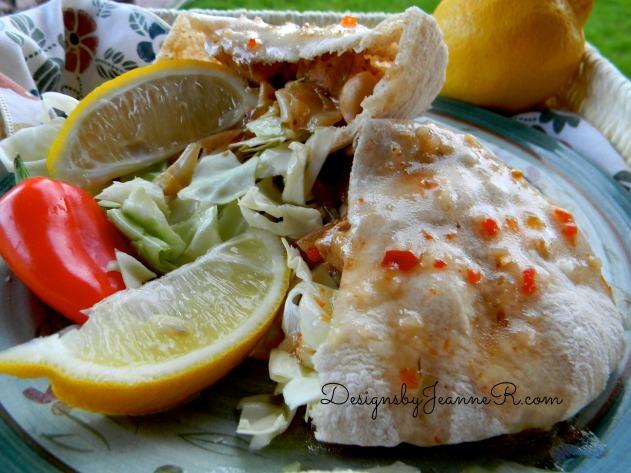 Pita Stuffed with Lemon Rosemary Warm Chicken Salad